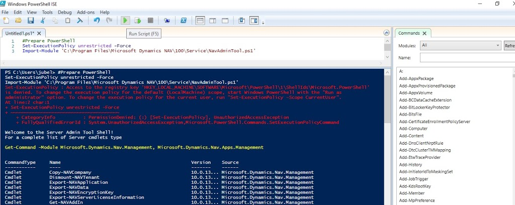 Windows Power Shell ISE screen after NAV Module Import