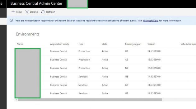Business central Cloud Admin Center Dashboard