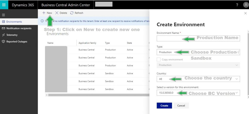New Production or Sandbox Interface Creation Steps in Microsoft Dynamics Business Central Cloud system