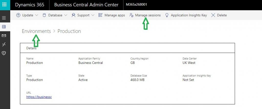 Business Central Cloud Admin Center page