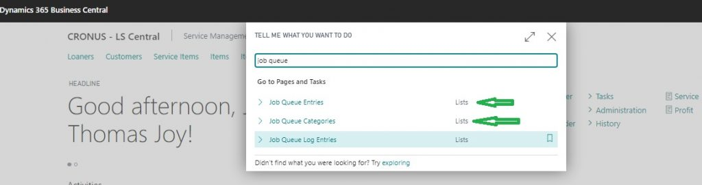 Job Queue Pages List in Business Central