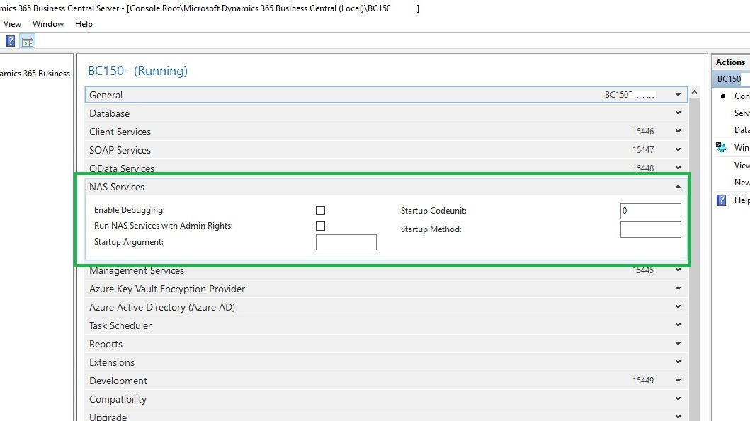 Business Central NAS Services settings