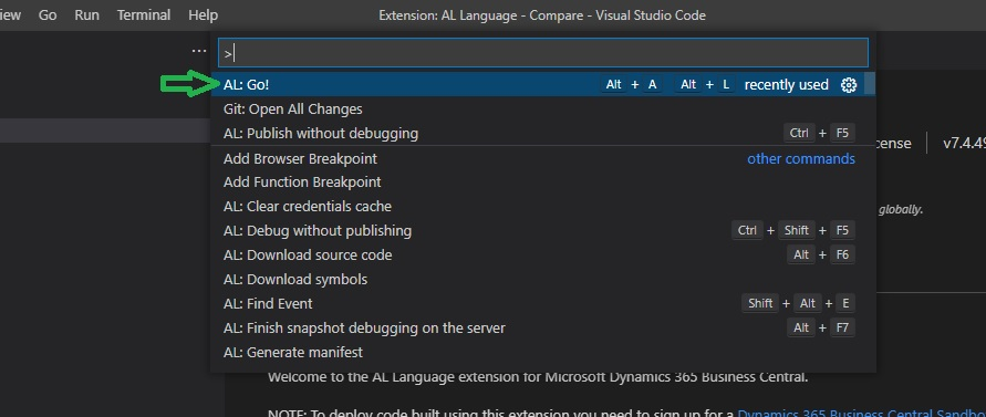 AL go command palate in Business Central integrated Visual Studio Code