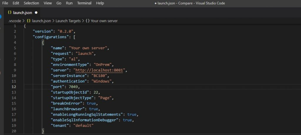 Launch.json settings to Connect Business Central Application vs Visual Studio Code